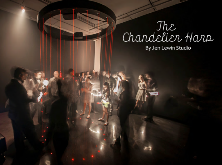 Chandelier harp jen lewin art algorithms a digital arts chandelier harp is an interactive instrument played by passing your body through the low voltage lasers that shine from the chandelier harp to the ground aloadofball Image collections